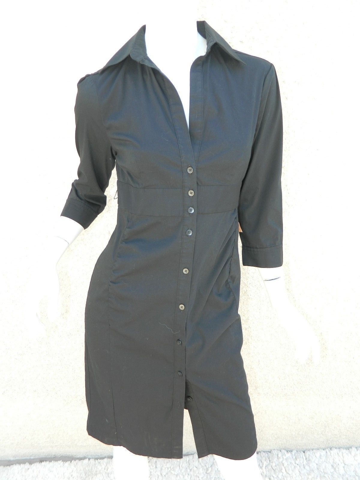 EXPRESS Dress Navy Blue Classic Shirt 3/4 Sleeve Dress Workwear Career Sz 6
