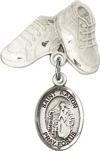 Sterling Silver Baby Badge with St. Aaron Charm and Baby Boots Pin 1 X 5/8 inch - $59.33