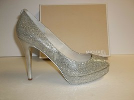 Michael Kors Size 9.5 M York Silver Glitter Platform Heels New Womens Shoes - $127.71
