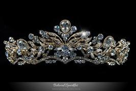 Sabella Victorian Art Deco Gold Tiara | Swarovski Crystal - $128.95