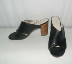 Cole Haan Gabby Cross Strap Black Leather Heel Sandals Size 8.5 B - $46.48