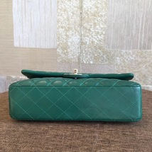 AUTH Chanel 2018 TURQUOISE GREEN LAMBSKIN MEDIUM DOUBLE FLAP BAG SHW image 3