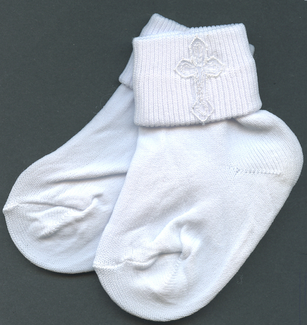 Primary image for Baby Boys White Embroidered Cross Detail Christening 3-4 size Socks