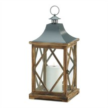 Large Wooden Diamond Lattice Candle Lantern - $46.96