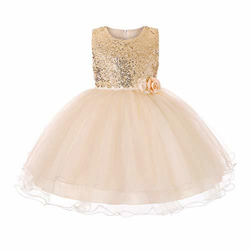 JiaDuo Baby Girl Lace Mesh Tutu Dress Sequin Bow Toddler Princess Gown 7-8 Years
