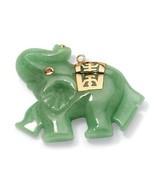Green Genuine Jade 14k Gold Lucky Elephant Charm Pendant - $99.82