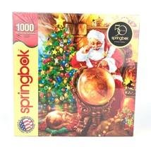 New Springbok Christmas Santa Cat Globe 1000 Piece Puzzle Joy Around the... - $19.54