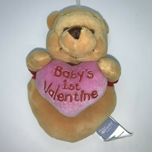 Disney Baby Winnie The Pooh Yellow Red Babys First Valentine Bear Rattle Toy - $8.17