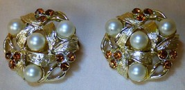 Vintage 1950s Pair STAR Goldtone Clip On Earrings Faux Pearls & Topaz - $25.00