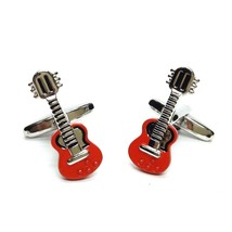 red & silver guitar instrument design cufflinks gift boxed