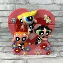 Powerpuff Girls Heart Cookie Jar Cartoon Network Blossom Buttercup Bubbl... - $30.79