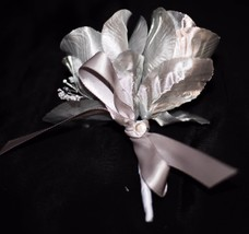 Silver Double Rose Boutonniere or Pin Corsage with Babies Breath White W... - $5.89