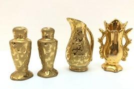 Vtg 22K Weeping Gold Brocade Set of 4 Salt Pepper Vase Pitcher Miniature DIXON - $29.02