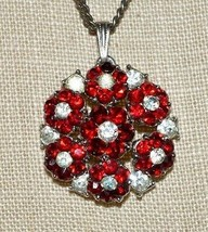 CROWN TRIFARI Silver Tone Clear Red Rhinestone Flower Pendant Only - $49.49