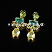Women Qingdao Fashion Glass Green Earrings - $10.82