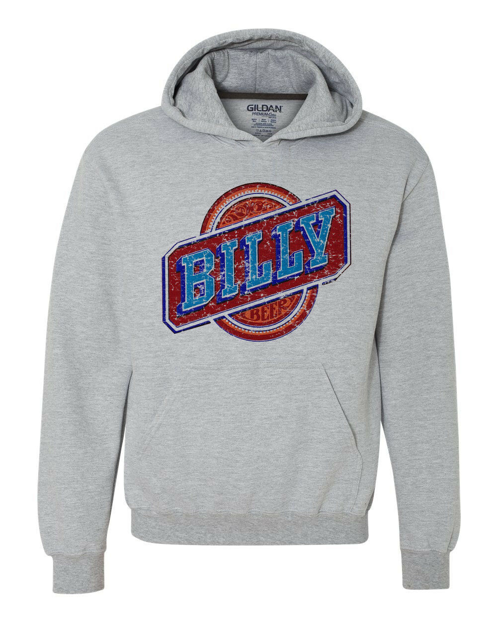 Billy Beer Hoodie retro vintage style distressed print grey graphic tee shirt