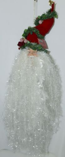Sterling 382450 Santa Head 18Inches Red Hat Greenery Wrapped White Tensile Beard