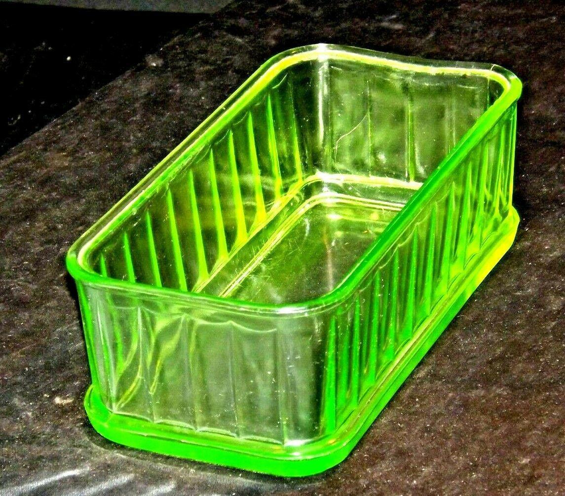 Green Depression Glass Storage Container Mid Century Kitchen Antique AA19-CD003