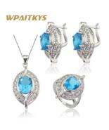 925 Silver Jewelry Sets For Women Christmas Sky Blue Semi-precious Hoop ... - $16.38