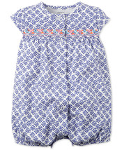 Carter's Baby Girls Blue Embroidered Snap-Up Romper, 118G349B - $9.50