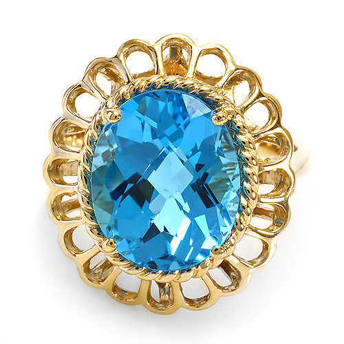 6 ct Blue Topaz Solitaire Ring in 14k Solid Gold