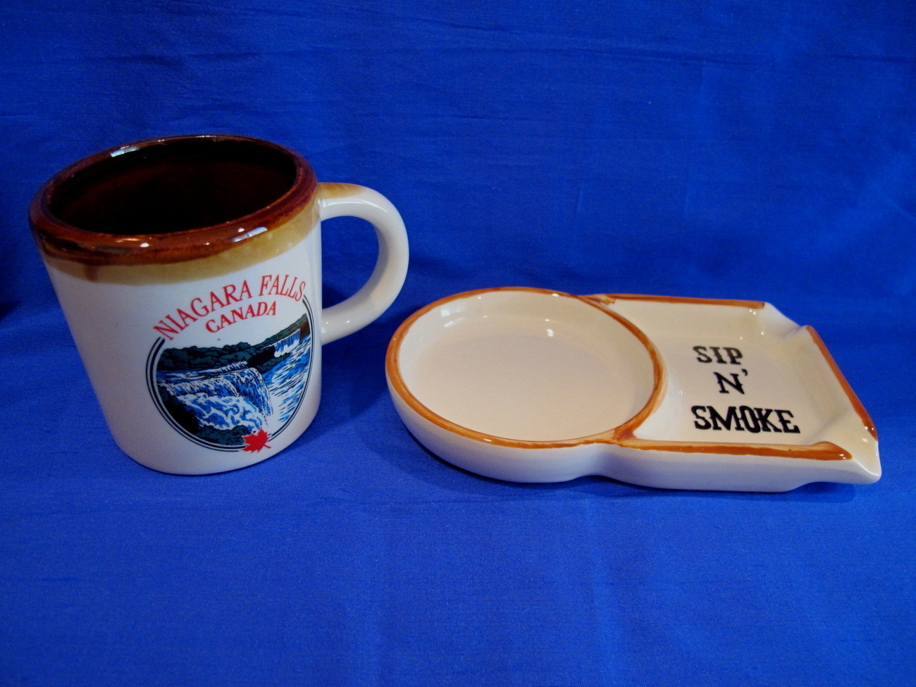 Niagara Falls Sip N Smoke Ashtray and Coffee Mug Cup Vintage Souvenir Collector