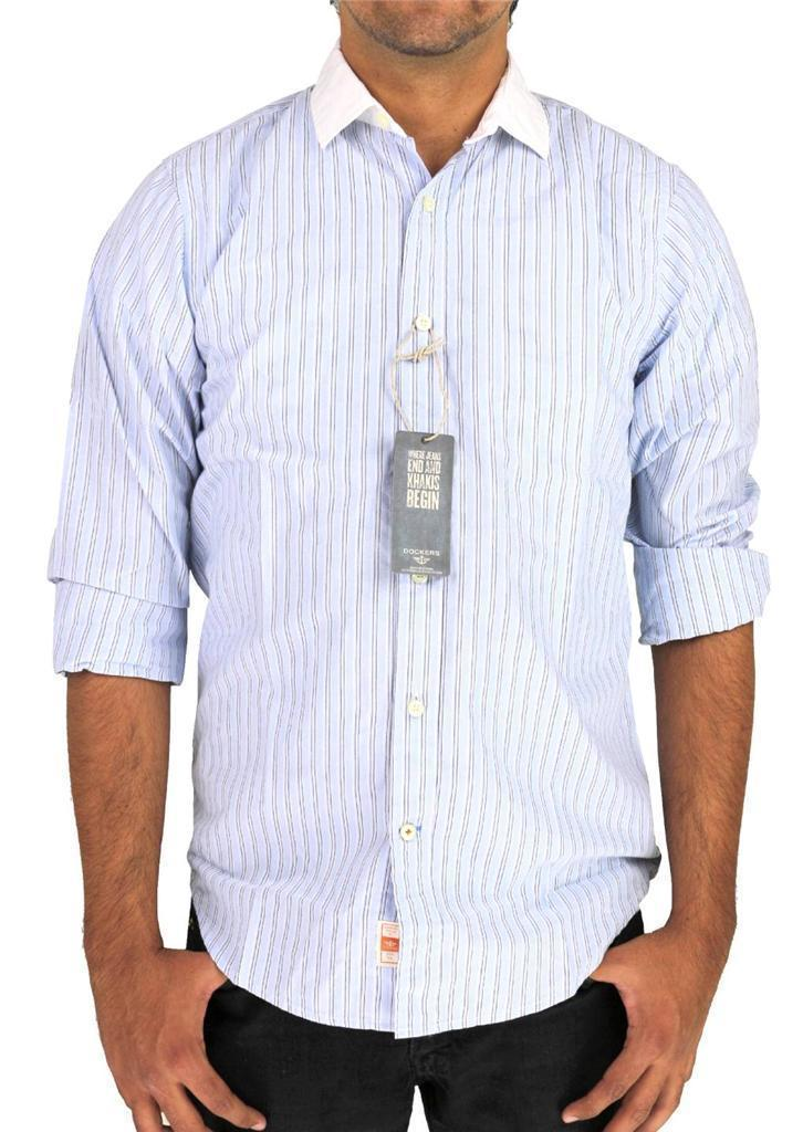 NEW DOCKERS MEN'S LONG SLEEVE BUTTON UP SHIRT LIGHT BLUE STRIPES SIZE SMALL