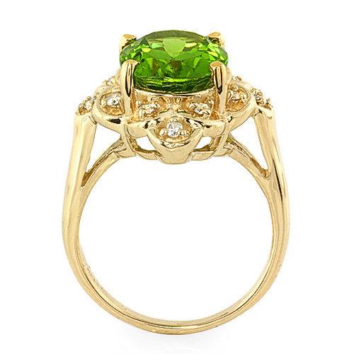4.3 ct Peridot and Diamond ring 14k
