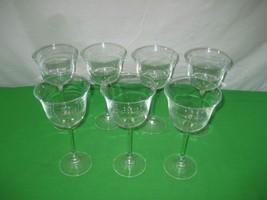Set of 7 Clear Crystal Glass Glassware Stemware Long Stem Wine Goblet - ... - $17.77