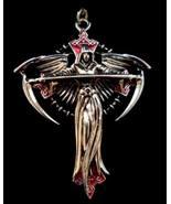Carpe Noctum Vocare Anne Stokes Pewter Celtic Cross Angel Pendant Magick Vampire - $32.95