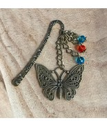 Bronze tone Dangle Charms Bookmark Bookmarker Vintage Retro Butterfly Beads - $7.69