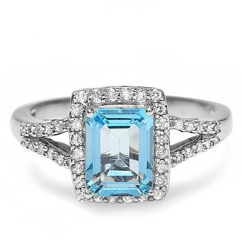Natural 2.0 ct Blue Topaz and diamond Ring in 14k gold