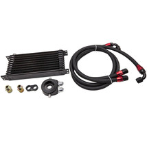 10 Row 10AN Thermostat Adaptor Engine Oil Cooler + Filter Kit BLACK - $131.35