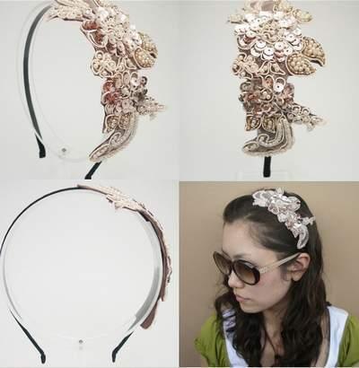 "Beaded Headband Hairband ""Grace"" Light Peach free organza bag"