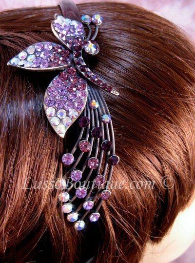 "Austrian Crystal Headband Hairband ""Ainsley"" Purple free organza bag"