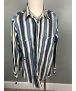 Mens 17 1/2-35 WRANGLER Shirt l/s Button Front Long Tails Blue Stripe We... - $48.49