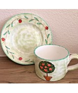 Handmade in ITALY for STARBUCKS green apple tree oversized cup and saucer - $24.74