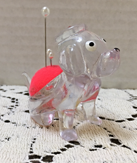 Vintage KITSCHY Clear Lucite Plastic Dog Pin Cushion // Retro Sewing Supplies