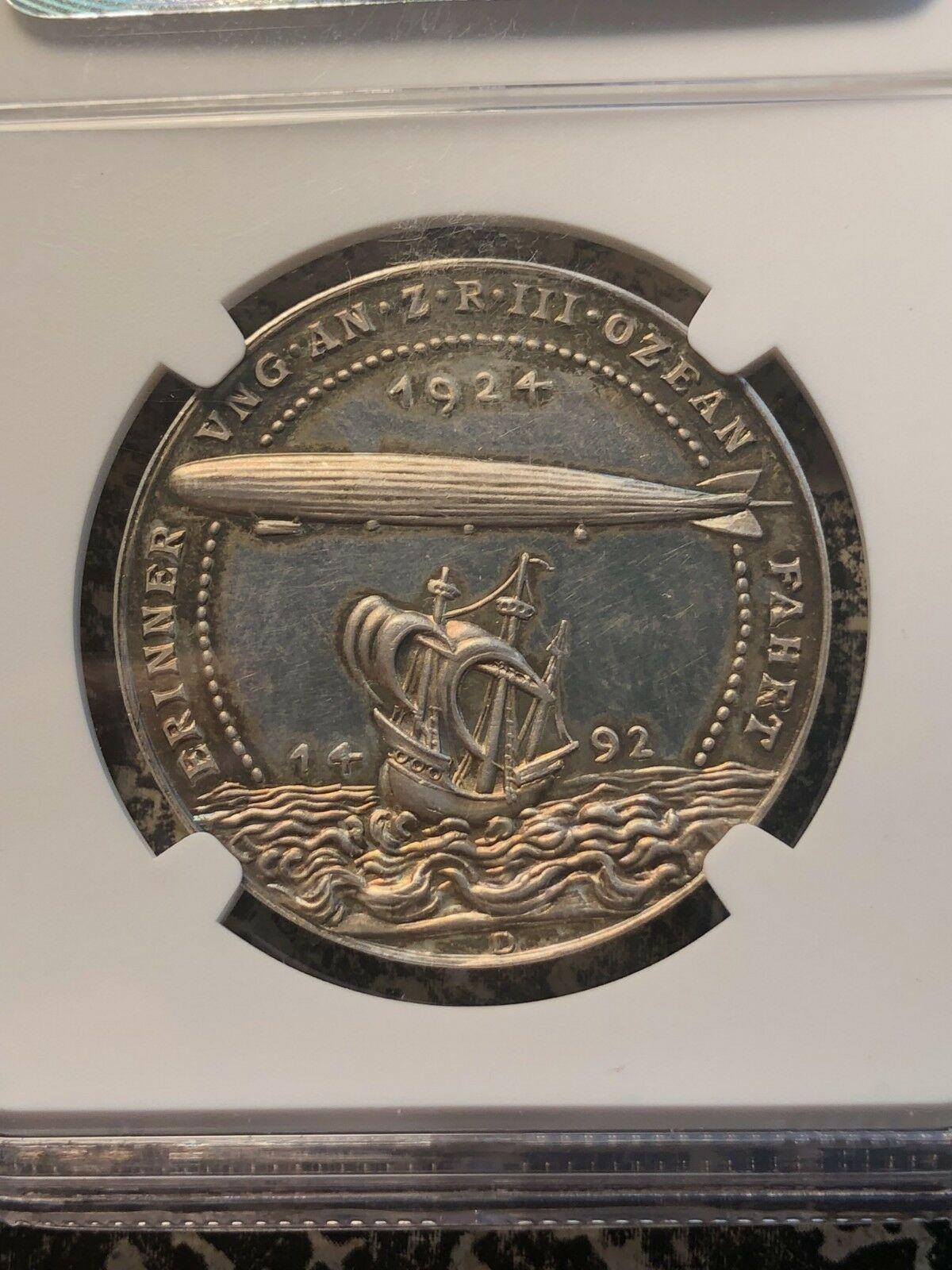 1924 Alemania Karl Goetz Zeppelin Medalla NGC Ms63 Lote #G960 de Plata !Bonito!