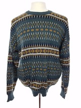 Vtg 80s Wool Blend Blue & Brown Geometric Crewneck Sweater, Sears Mens S... - $28.27