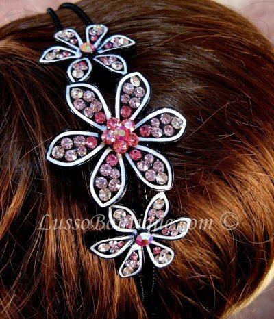 "Austrian Crystal Headband Hairband ""Ava"" Pink free organza bag"