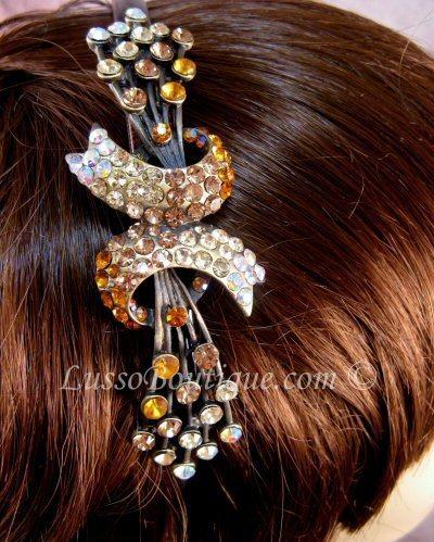 "Austrian Crystal Headband Hairband ""Brooke"" Topaz Brown free organza bag"