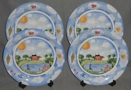 Set (4) Nikko Remember When Pattern Dinner Plates 1999 Deb Mores Made In Japan - $49.49