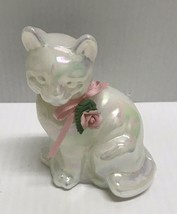 ❤️fenton Glass Iridescent Opal Pearly Sentiments Pink Rose Ribbon Sitting Cat❤️ - $38.00