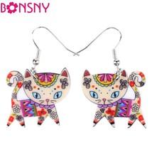 Drop Big Long Acrylic Brand Cat Earrings For Women New Bijoux Animal Jew... - $9.19