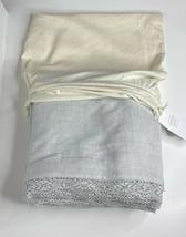 Restoration Hardware Garment-Dyed Crochet Linen Duvet Full/Queen Mist NE... - $199.99