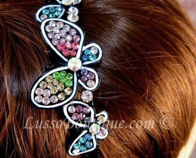 "Austrian Crystal Headband Hairband ""Butterly"" Multi Color free organza bag"