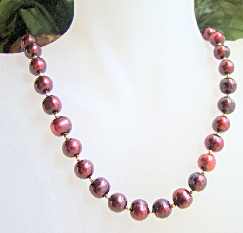 CRANBERRY PEARL & GOLD FILLED NECKLACE  0088