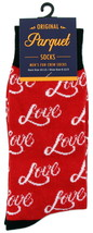 Love Socks Mens Novelty Crew Red Casual Cotton Blend Fun Romantic Sock Gift - $12.95