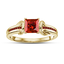 Women's Anniversary Ring Princess Cut Red Garnet Yellow Gold Plated 925 ... - $79.99